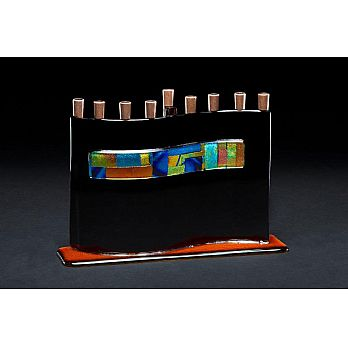 Fused Glass Menorah By Daryl Cohen