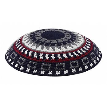 Supreme Quality DMC Knitted Kippot - Black Body with Grey/Marron/White