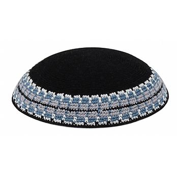 Supreme Quality DMC Knitted Kippot - Classic Black & Blue