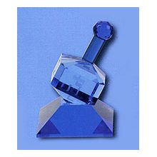 Beautiful Large Crystal Dreidel with Stand - Blue