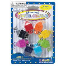 8 Dreydel Shaped Chanukah Crayons
