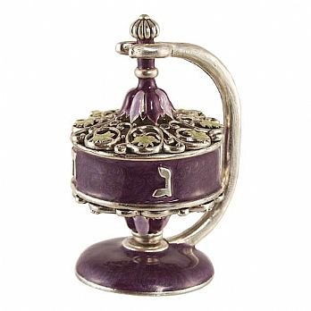 Artistic Filigree Dreidel on Stand - Purple / Silver