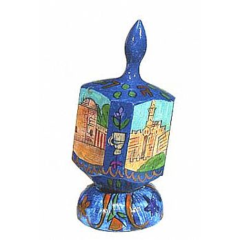 Large Art Dreidel with Display Stand - Holy Sites in Israel