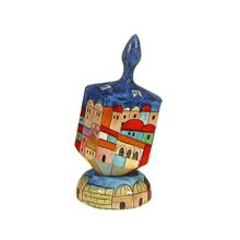 Large Art Dreidel with Display Stand - Jerusalem Homes