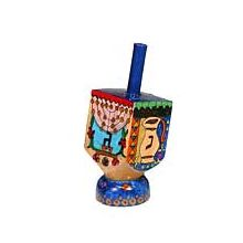 Small Art Dreidel w/Display Stand - Hanukkah Theme