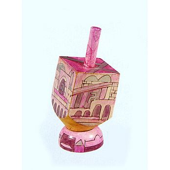 Small Art Dreidel w/Display Stand - Jerusalem Pink