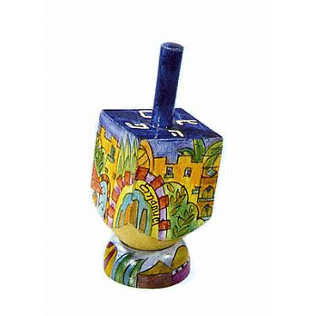 Small Art Dreidel w/Display Stand - Jerusalem Summer