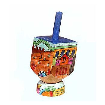 Small Art Dreidel w/Display Stand - Jerusalem Colored