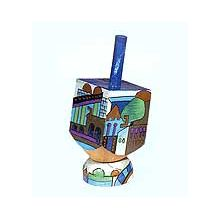 Small Art Dreidel w/Display Stand - Jerusalem Blues