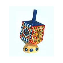 Small Art Dreidel w/Display Stand - Antique Design