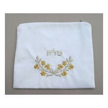 White Velvet Tallit Bag - Silver/Gold