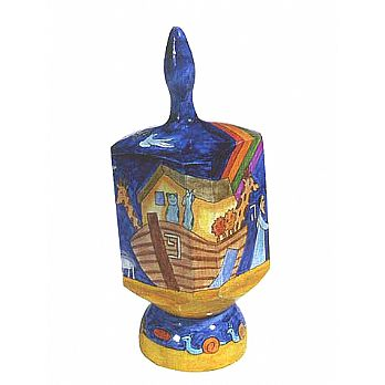 Jumbo Wooden Dreidel with Display Stand - Noah's Ark