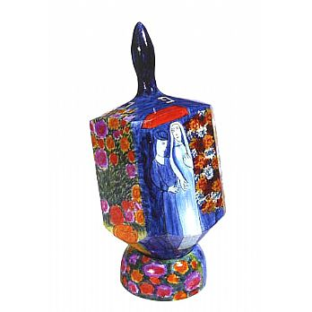 Jumbo Wooden Dreidel with Display Stand - Floral Love