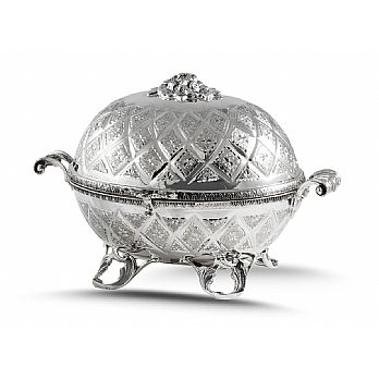 Sterling Silver Etrog Box - Diamond Cut Carriage