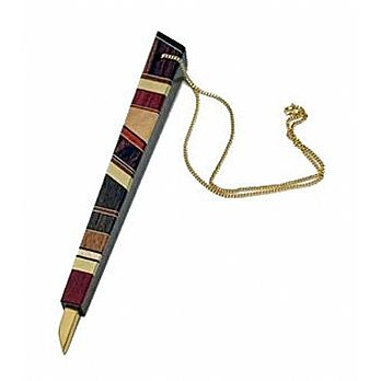 Carved Wood Torah Pointer with Brass Inlay