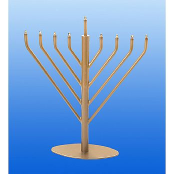 Electric Menorah Chabad Style with Low Volt Bulbs - Satin Gold
