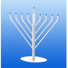 Electric Menorah Chabad Style with Low Volt Bulbs - White