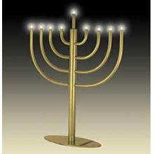 Traditional Low Volt Electric Menorah - Antique Gold