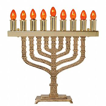 All Brass Electric Menorah - Knesset Style