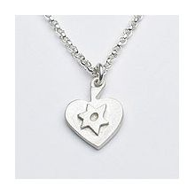 Sterling Heart Neclace with Star of David