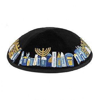 Embroidered Velvet Kippah w/Optional Imprint - Jerusalem on Black