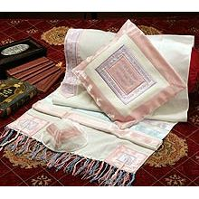 Soft Cotton Luxurious Tallit Set - Pink Pastel Fancy Lace
