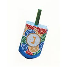 Large Hand Painted Fancy Wood Dreidel