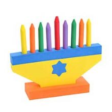 Colored Foam Menorah Toy with Removable Candles