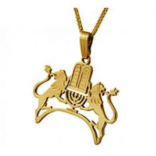 14K Gold Judaic Pendant - Lions and Ten Commandments