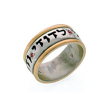 Ani Ledodi Wedding Band with Rubies