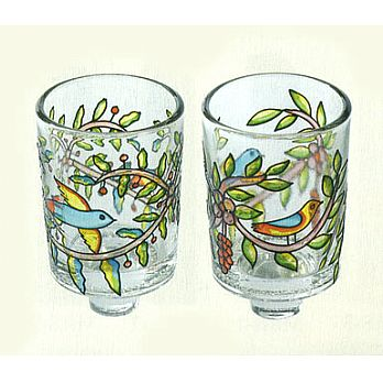 Set of 2 Shabbat Candle Glasses - Birds