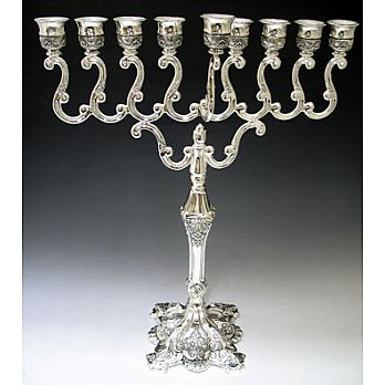 Large Silver Plated Traditional Menorah