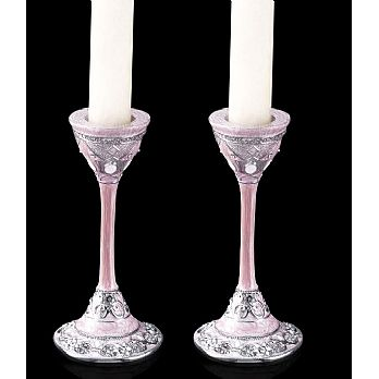 Gemstone Candlestick Set - Pink