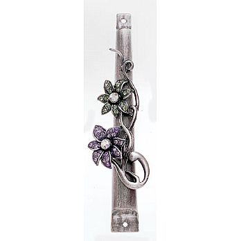 Aluminum Floral Mezuzah Covers with Gemstones