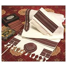 Soft Cotton Luxurious Tallit Set - White & Burgandy