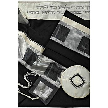 Wool Tallit Set - Black/Silver