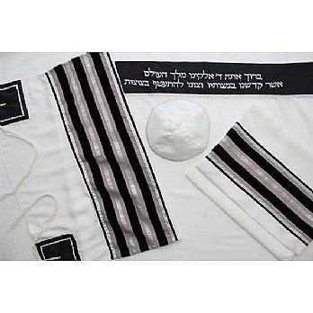 Viscose Tallit Set - Black/ Beige