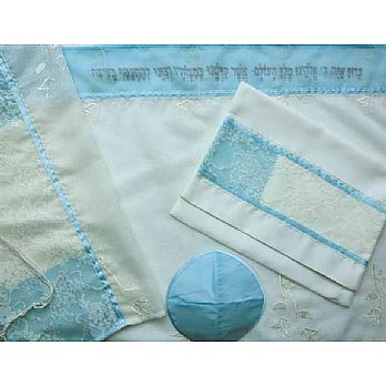 Polyester Tallit Set - Light Blue/White