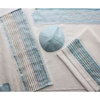 Poly Sheer Tallit Set - Blue