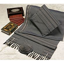 Soft Cotton Luxurious Tallit Set - Grey on Grey