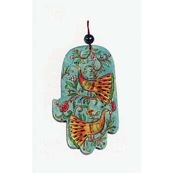 Carved Wood Hamsa Wall hanging - Peacock Antique Design