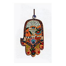 Carved Wood Hamsa Wall hanging - Judaic Icons