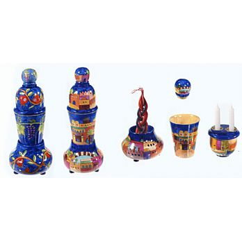 Carved Wood Shabbat Travel Kit