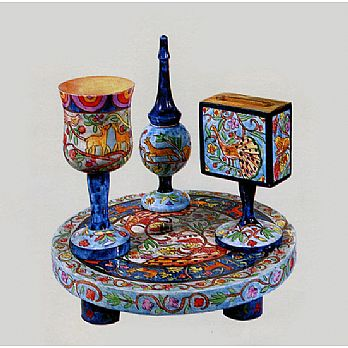 Carved Wood Havdalah Set - Oriental Design