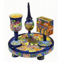 Carved Wood Havdalah Set - Vibrant Jerusalem