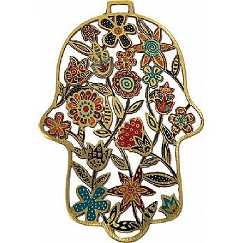 Etched Metal Hamsa Decoration by Emanuel - Summer Multicolor