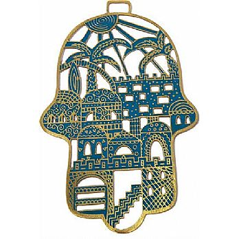 Etched Metal Hamsa Decoration by Emanuel - Jerusalem Turquoise