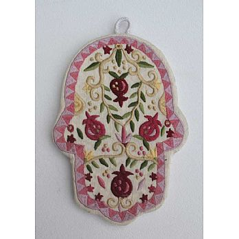 Embroidered Hamsa Decor - Pomegranates
