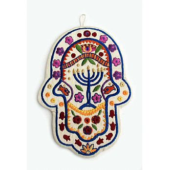 Embroidered Hamsa Decor - Menorah