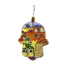 Painted Glass Hamsa Wall Hanging - Jerusalem